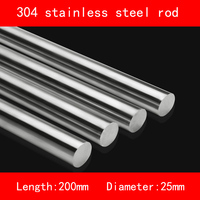 Smooth Surface 304 Stainless Steel Rod Diameter 25mm Length 200mm Anti Corrosion Metal