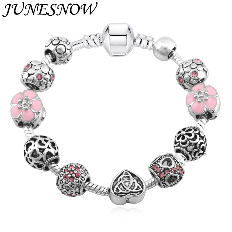 2018 Ny Ankomst Pink Cherry Flower Heart Perler Fiks Pandora Armbånd Charms For Women Fashion DIY Smykker