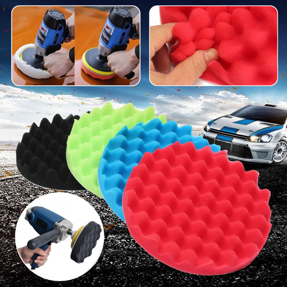 Professional Quality 4PCS 3 4 5 6 7 quot Inch Sponge Buff Buffing Polishing Pad Kit Set For Car Polisher in Power Tool Accessories from Tools