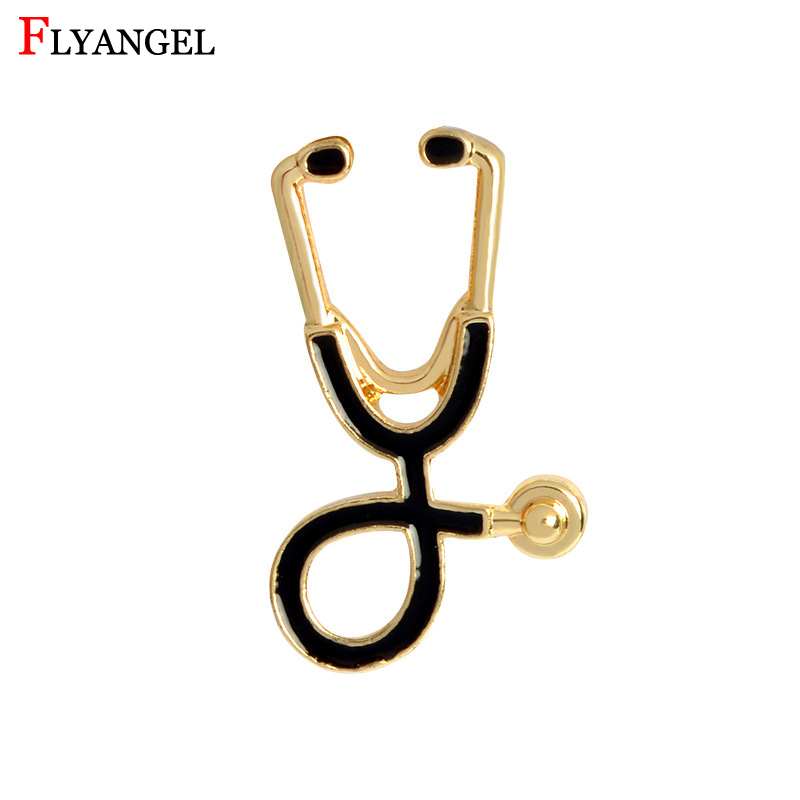 New Creative Stethoscope Brooch Gold/Silver Color Shawl Kilt Pin Men Women Clothes Jewelry Accesssories Gift For Doctor Friends