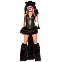 Abbille Animal Black Cat Women Costume Faux Fur Catsuit Party Fancy Dress Hat Top Skirt Gloves