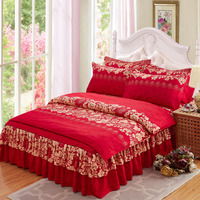 Hot sale 3d bedding sets 4pcs duvet cover set queen twin king bed set red rose nice bedclothes 220cmx240cm Free Shipping