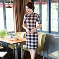 Free shipping Lattice Qipao chinese Style dress Blend Cotton Cheongsam national trend chinese traditional Clothing woman dresses