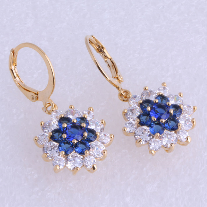 Love Monologue Aesthetic Blue & White Crystal Cubic Zirconia Drop Flower Yellow Gold Color Drop Earrings X0133