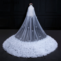 JaneVini 3.5M Long Wedding Veil with Comb Two Layer Cut Edge Cathedral Veil Bridal Wedding Accessories Velo Sposa Bianco Lungo