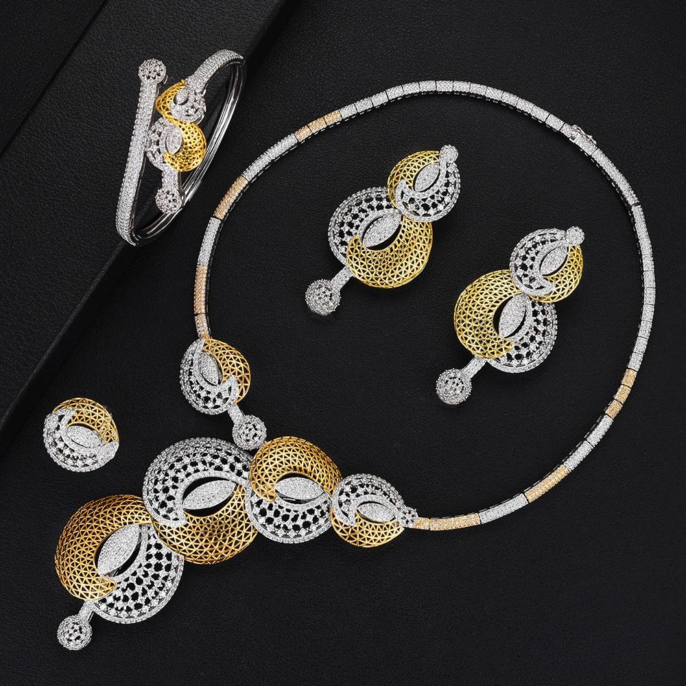 missvikki Luxury 4PCS Gorgeous Earrings Bangle Open Ring Necklace Jewelry Set for Women Shiny Romantic Bridal Wedding Gift