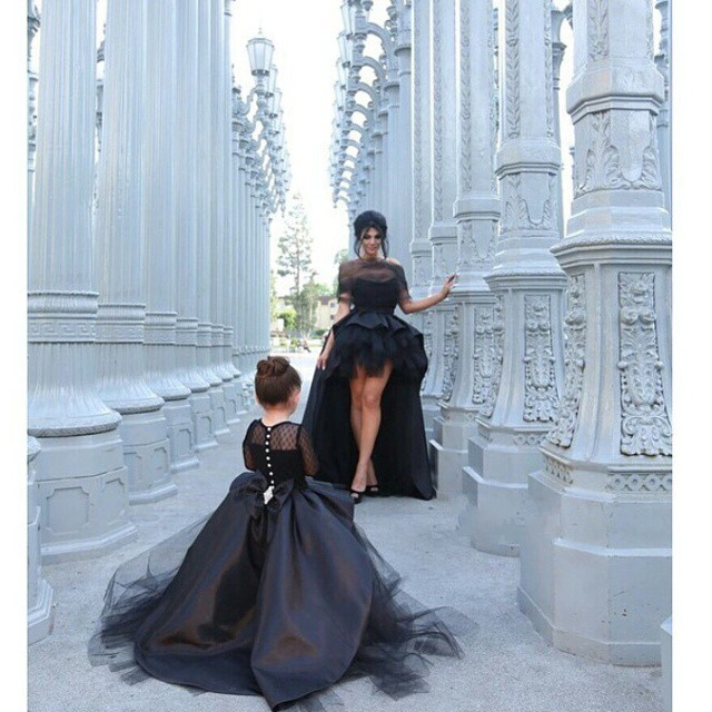2017 Ball Gown   Flower     Girl     Dresses   With Long Sleeves Jewel Little   Girls   Party   Dress   Pageant Gowns Black Satin Tulle High Low