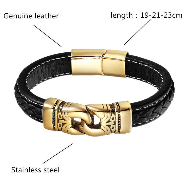 07331ad772b ... Fashion Stainless Steel Bracelet Men Gold Silver Color Punk Genuine  Leather Bracelets & Bangles Chain Charm ...