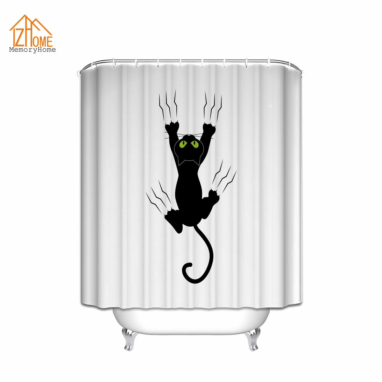 Memory Home Cat Eat Gato Cartoon Black Cat Nauty Kitten Polyester Fabric Bathroom Shower Curtain Waterproof Bathroom Decoration