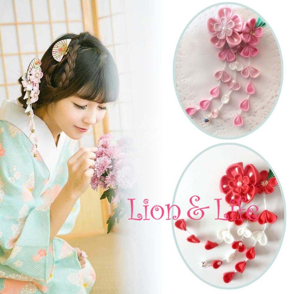 Japanese Flower Sakura Headwear Clip Haripin Hair kimono Yukata Tassels Cosplay fishtail braid with hair accessory