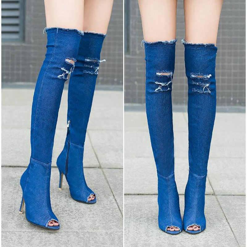 Moda sonbahar kadınlar yüksek topuklar uyluk yüksek çizmeler kadın ayakkabısı sıcak diz üzerinde çizmeler Peep Toe kovboy çizmeleri Denim ayakkabı TT-07