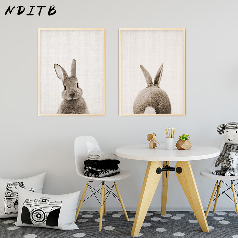 NDITB Rabbit Bunny Butt Tail Canvas Art Poster Woodland Baby Animal Nursery Print Painting Wall Picture for Living Room Decor