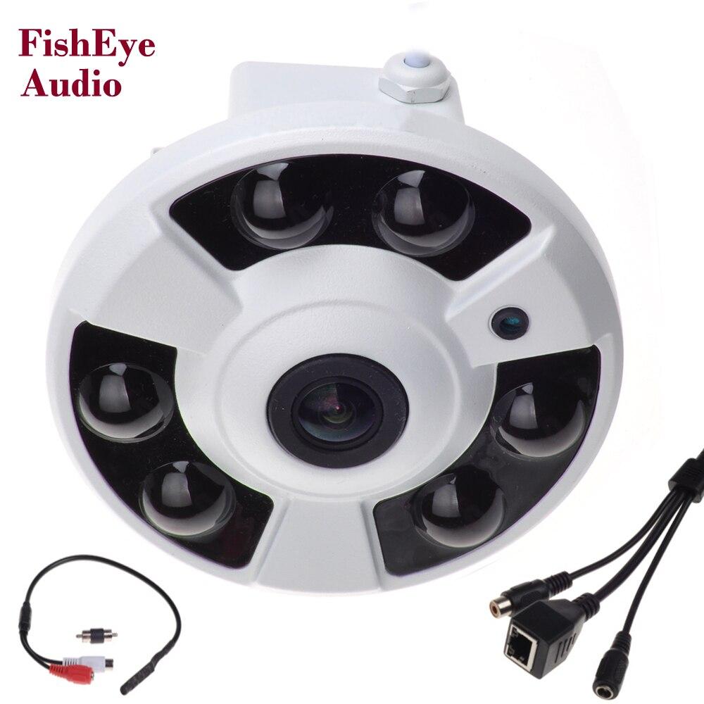 Панорамный ip Камера аудио 720 P 960 P 1080 P дополнительно Широкий формат Fisheye 5mp 1.7 мм объектив Камера CCTV ONVIF 6 ИК светодиодный микрофон