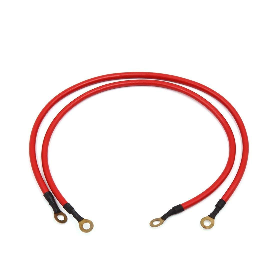 Uxcell 2Pcs 45 centimetri Red Car Batteria Filo di Terra Tensione Cavo Elettrico di Conduzione Stabile