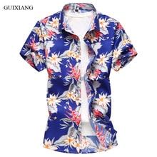 Новое поступление, Мужская Изысканная рубашка с коротким рукавом и цветочным принтом, модная повседневная тонкая короткая рубашка, мужская Тонкая хлопковая рубашка «Добби», размер M-7XL