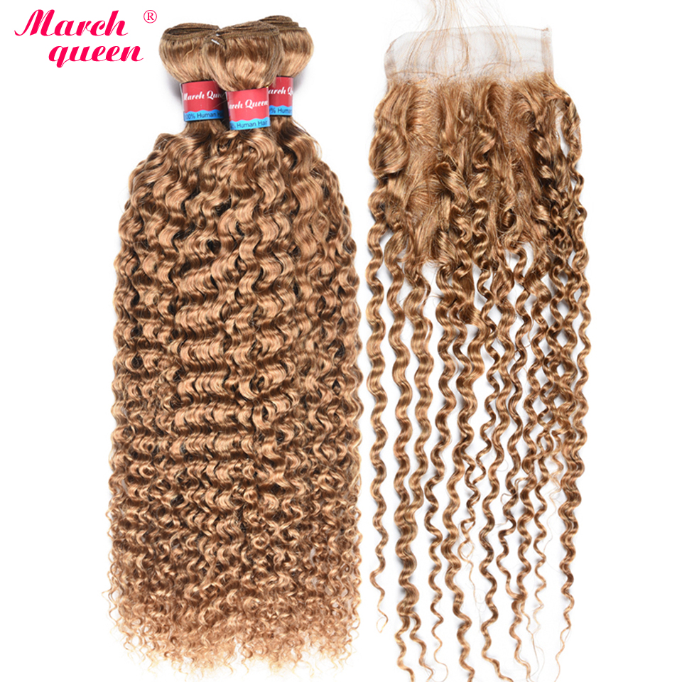 #27 Honey Blonde Color Peruvian Human Hair Bundles With Closure Curly Hair Weave 3 Bundles Deal Double Weft Hair Extensions