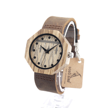 BOBO BIRD Octagon Wooden Watches Women Luxury Quartz Clock Cool Lady Dress Leather Wristwatch in Gift Box