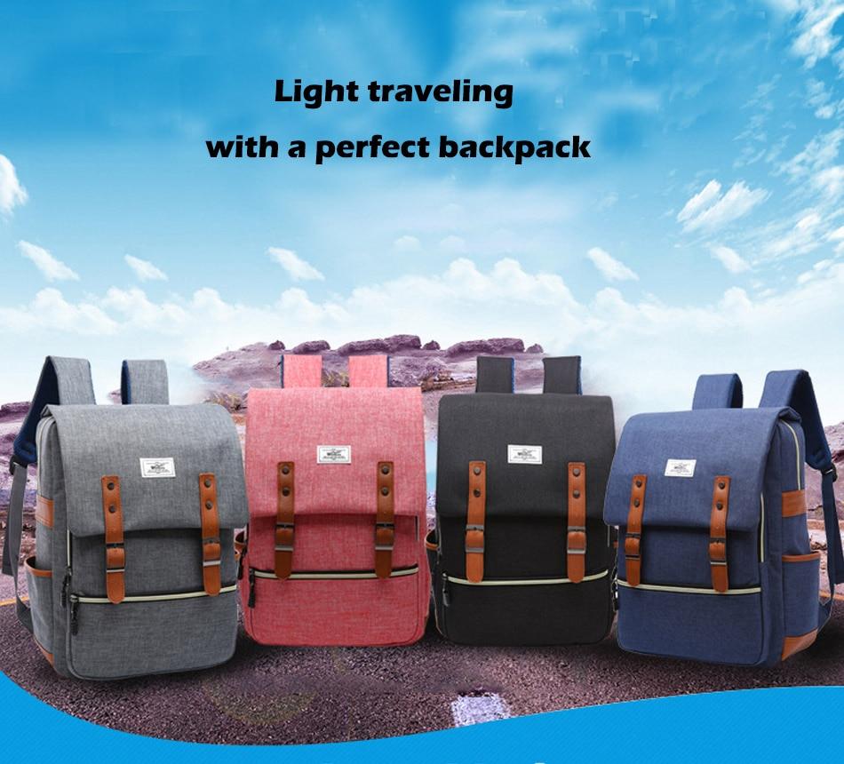 2018 Vintage Men Women Canvas Backpacks School Bags for Teenager Boys Girls Laptop Backpack with USB Charging Fashion Travel Bag (2)
