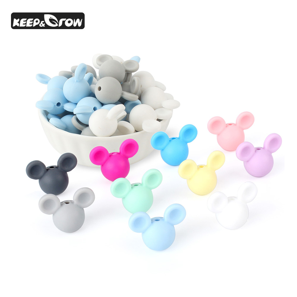 10Pcs Mickey Baby Silicone Beads Cartoon Teething Beads Food Grade Baby Teething Necklace Accessories DIY Baby Pacifier Pendant