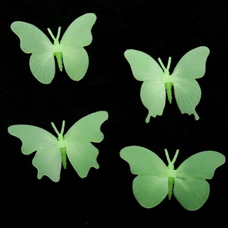New Wall Sticker 3D pvc butterfly Color Glow In The Dark Luminous Fluorescent Stickers Decal kids Room decoration Starry Sky
