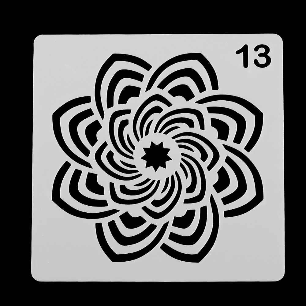 DIY Craft Mandala pomocnicze nakładania warstw szablony do grafik ściennych malowanie Scrapbooking Stamp ozdoba do albumu tłoczona kartka szablon #13
