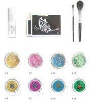 1set 4color Glitter flash Diamond 1pcs tattoo glue 2 airbrushs 10pcs Template Stencil tattoo body paint lot
