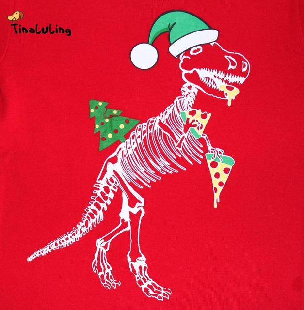 TINOLULING 2-8 years children christmas dinosaur pajamas sets kids sleepwear boys girls stripes pyjamas baby santa pijamas