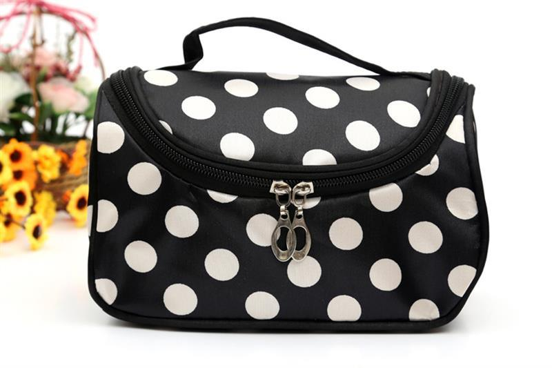Makeup-Tool-Bags Storage-Bag Top-Handle Travel-Organizer Cosmetic Canvas Dot With Dots-Pattern