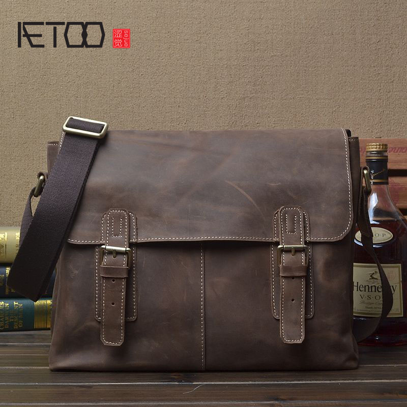 AETOO Original crazy horse skin bag shoulder bag handmade leather Messenger bag retro leather A4 horizontal paragraph simple pos