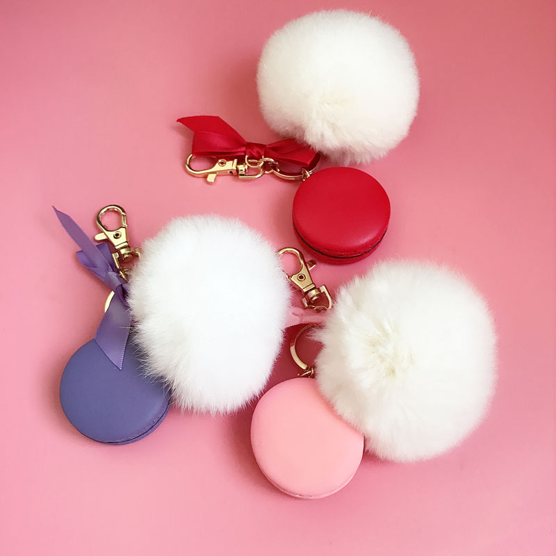 Round Key Chain France Macarons Keychains Rabbit Real Fur Ball Key - Fashion Jewelry - Photo 3