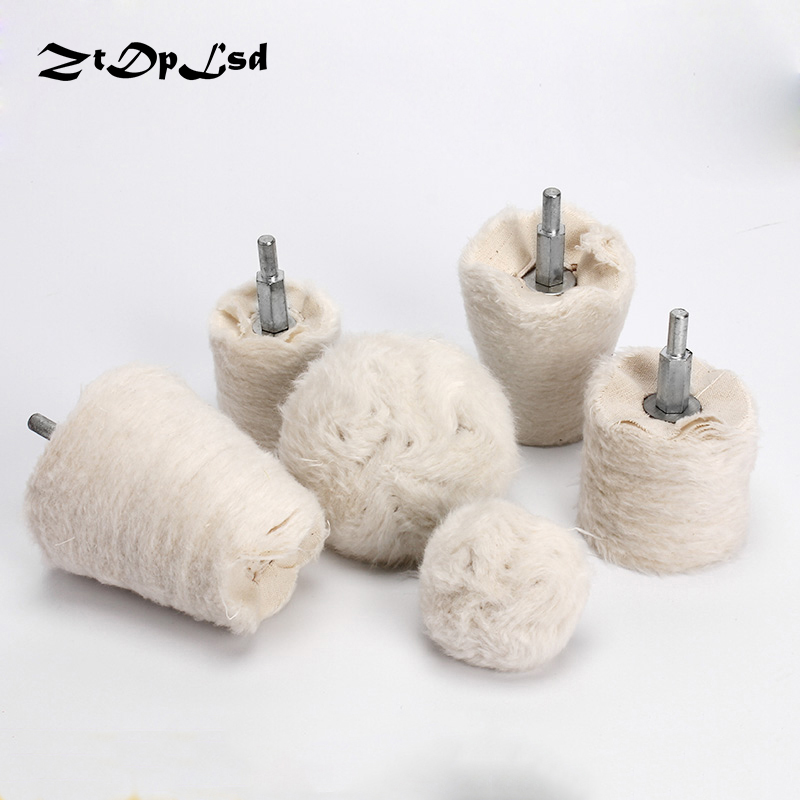 ZtDpLsd 1PC White Cotton Dome Polishing Mop Buffing Wheel Polish Pad Drill Adapter For Metal Jewelry Wood