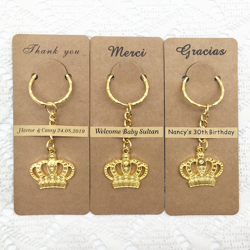100pcs lot Wedding Favors Baby ShowerBirthday Gifts Home Party Gifts Majestic Crown Key Chain with Personalized
