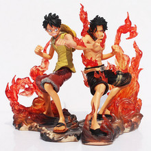 Anime One Piece 14 cm 2 pçs/set 2 Anos Mais Tarde Luffy VS Ace Ação PVC Figura Brinquedos Dolls(China)