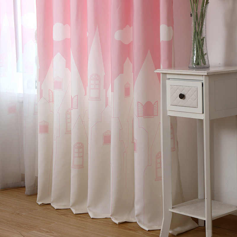 Pink Blue Green Castle Clouds Pattern Curtains for Kids Room Bedroom Blackout Curtains for Living Room Sheer Tulle WP126 *30