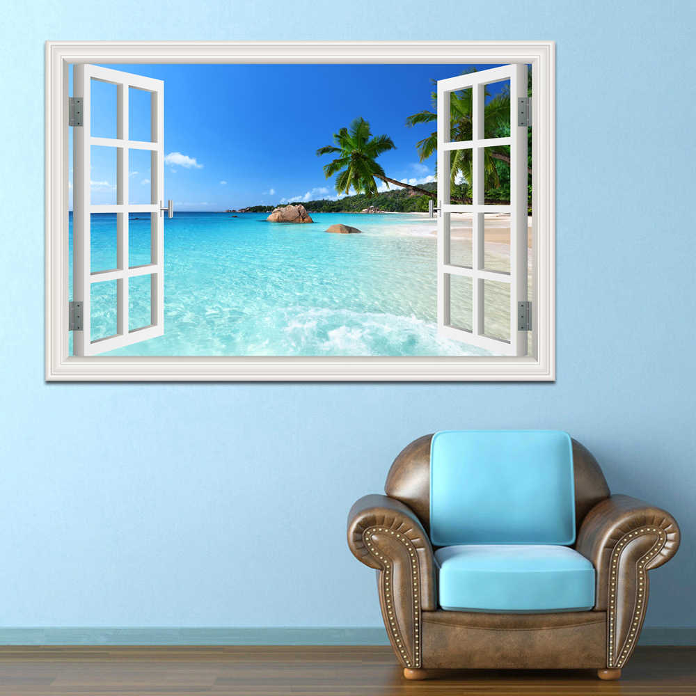 Modern Summer Beach Coconut Tree 3d Wall Sticker Seaside Landscape Removable Wallpaper Window View Decal Stickers Home Decor