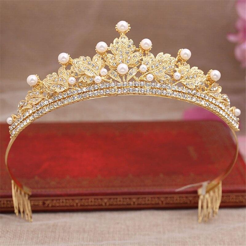Gold Leaf With Pearl And Rhinestone Princess Wedding Tiara