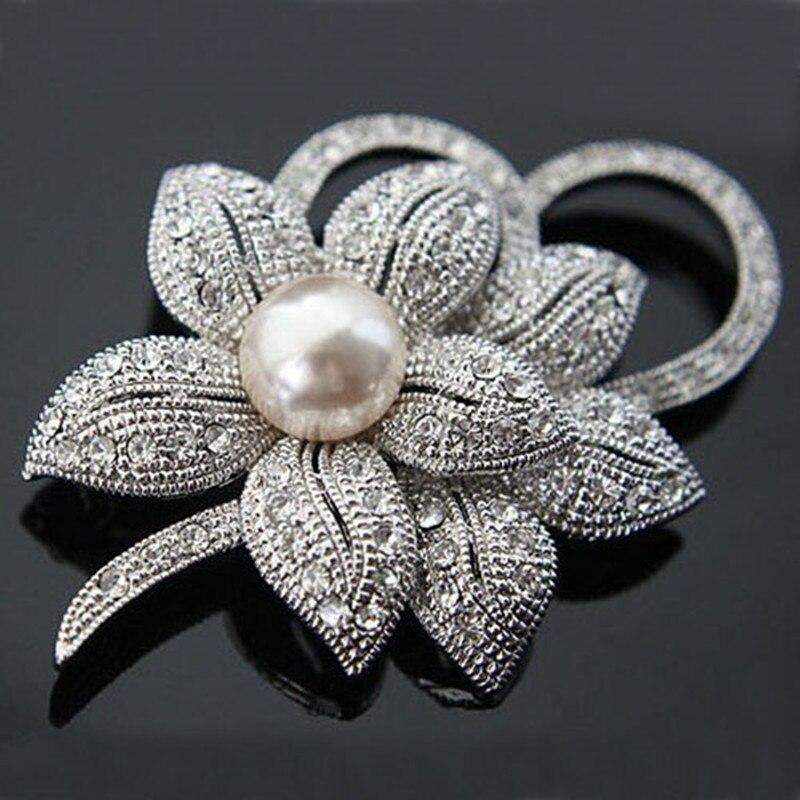 Retail High Quality Vintage Style Rhodium Plated Clear Austria Crystals Imitation Pearl Big Bow Brooch Wedding