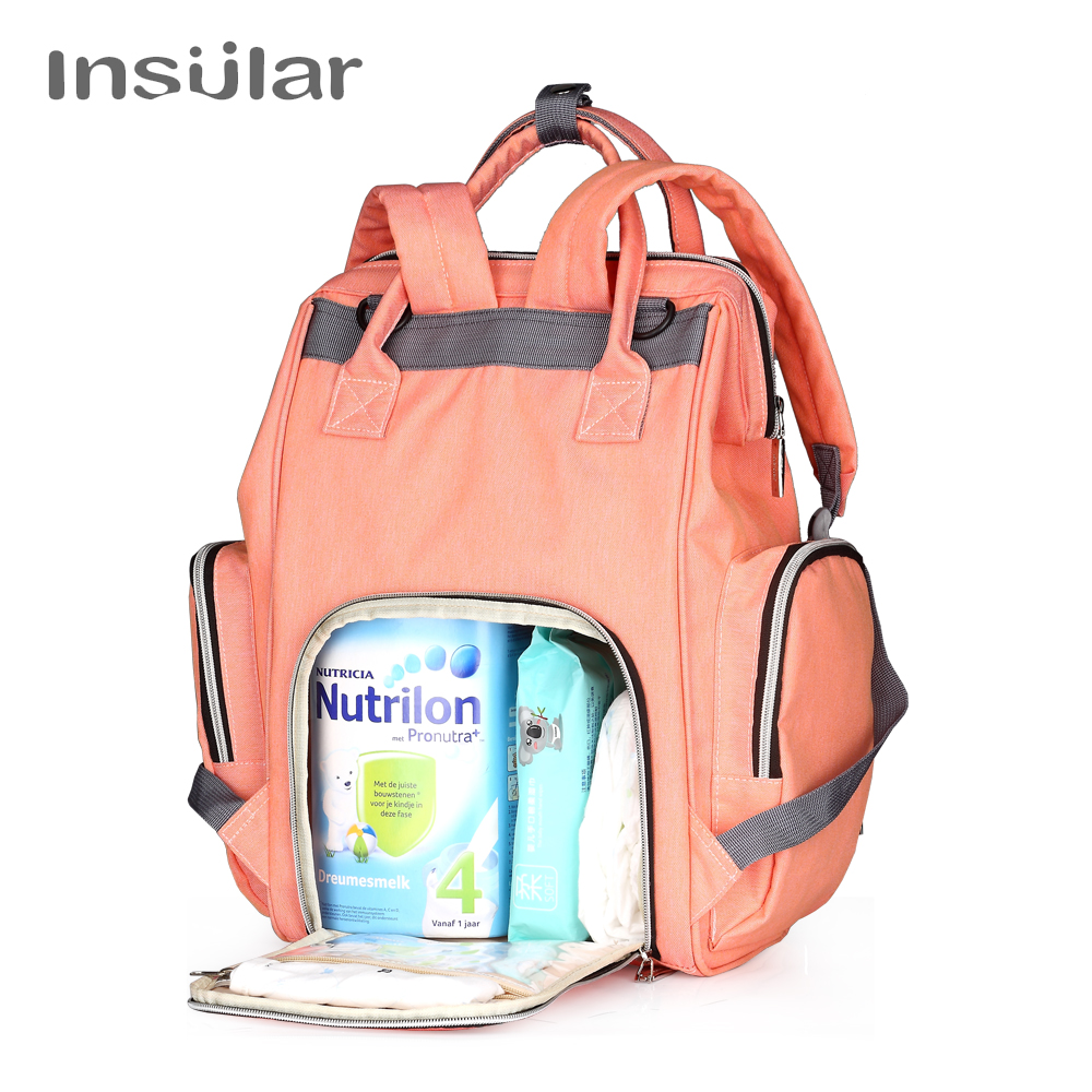 INSULAR New Baby Diaper Bag Fashion Mummy Maternity Nappy Bag Large Capacity Baby Bag Travel Backpack Designer Nursing Bag