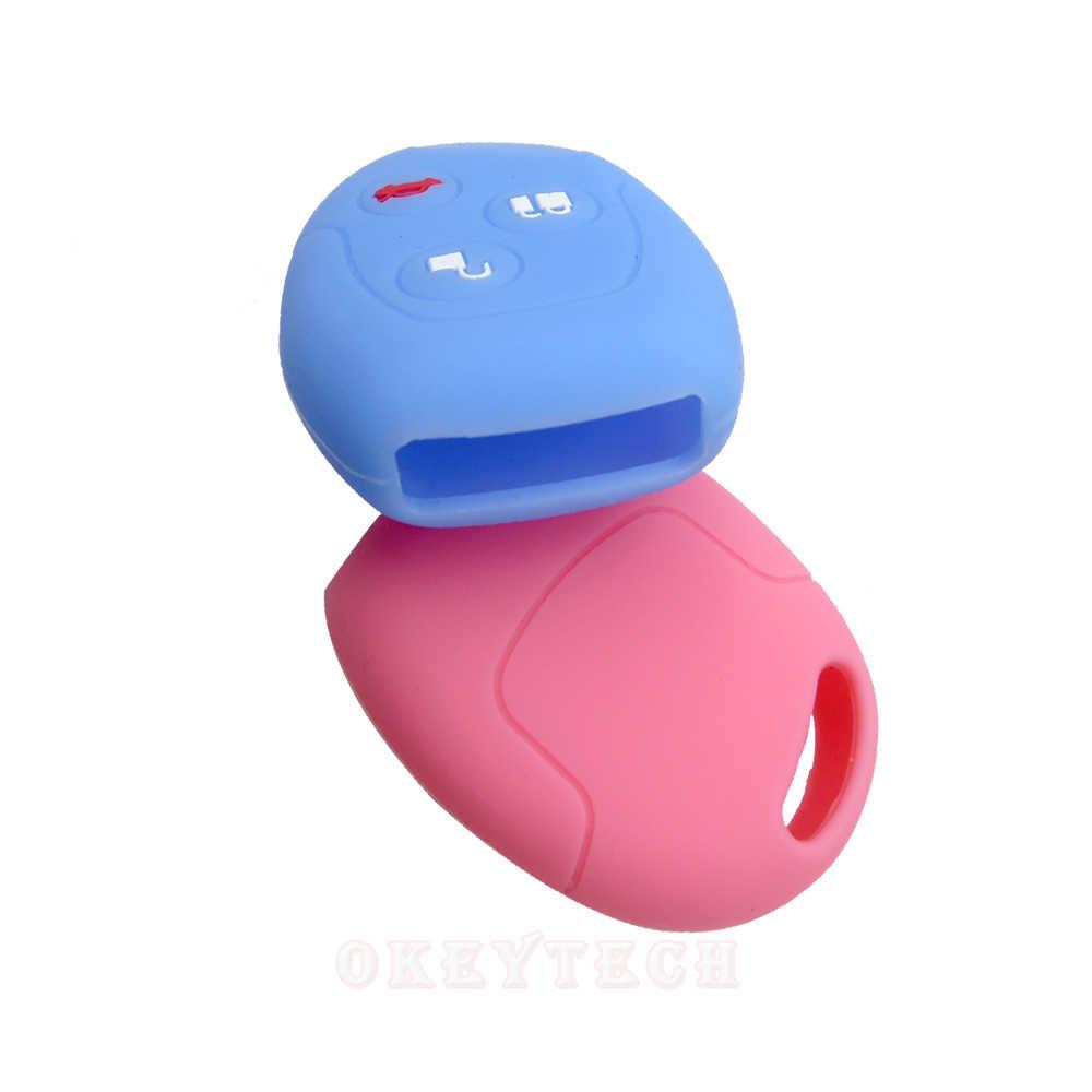 OkeyTech 3 כפתור רך סיליקון רכב מפתח מקרה סט כיסוי לפורד פוקוס מונדיאו 2 3 MK4 Festiva חליפת היתוך פיאסטה KA מגן Fob