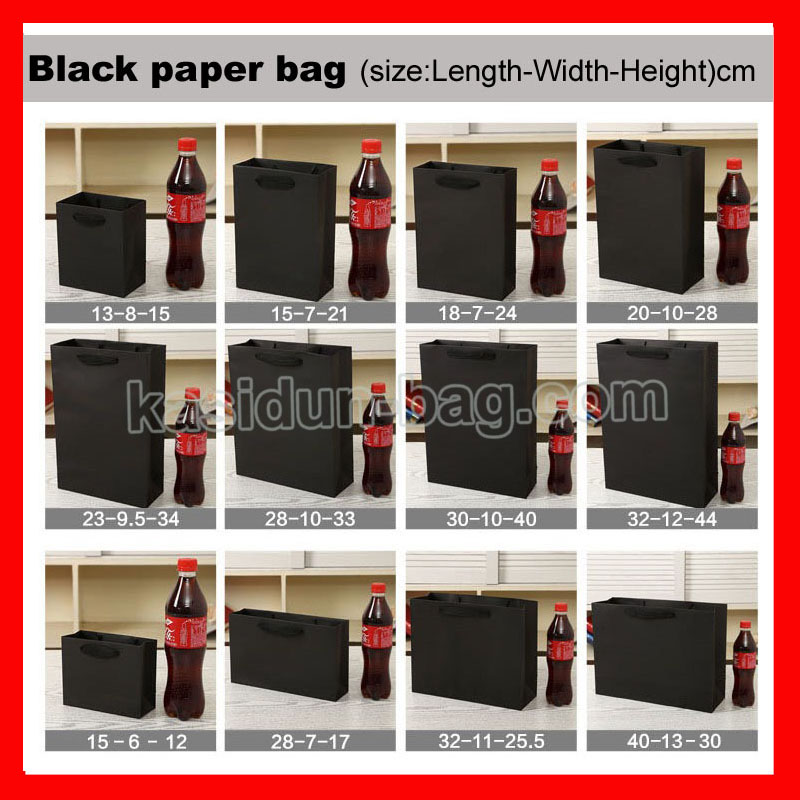 (100PCS/lot) 10 SIZE available wholesale 250gsm cardboard black paper bag-in Shopping Bags from Luggage & Bags    3