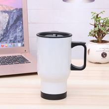 Stainless Steel White Travel Blank Sublimation Mug For Heat Press Printing 450ml Thermos Cup цена и фото