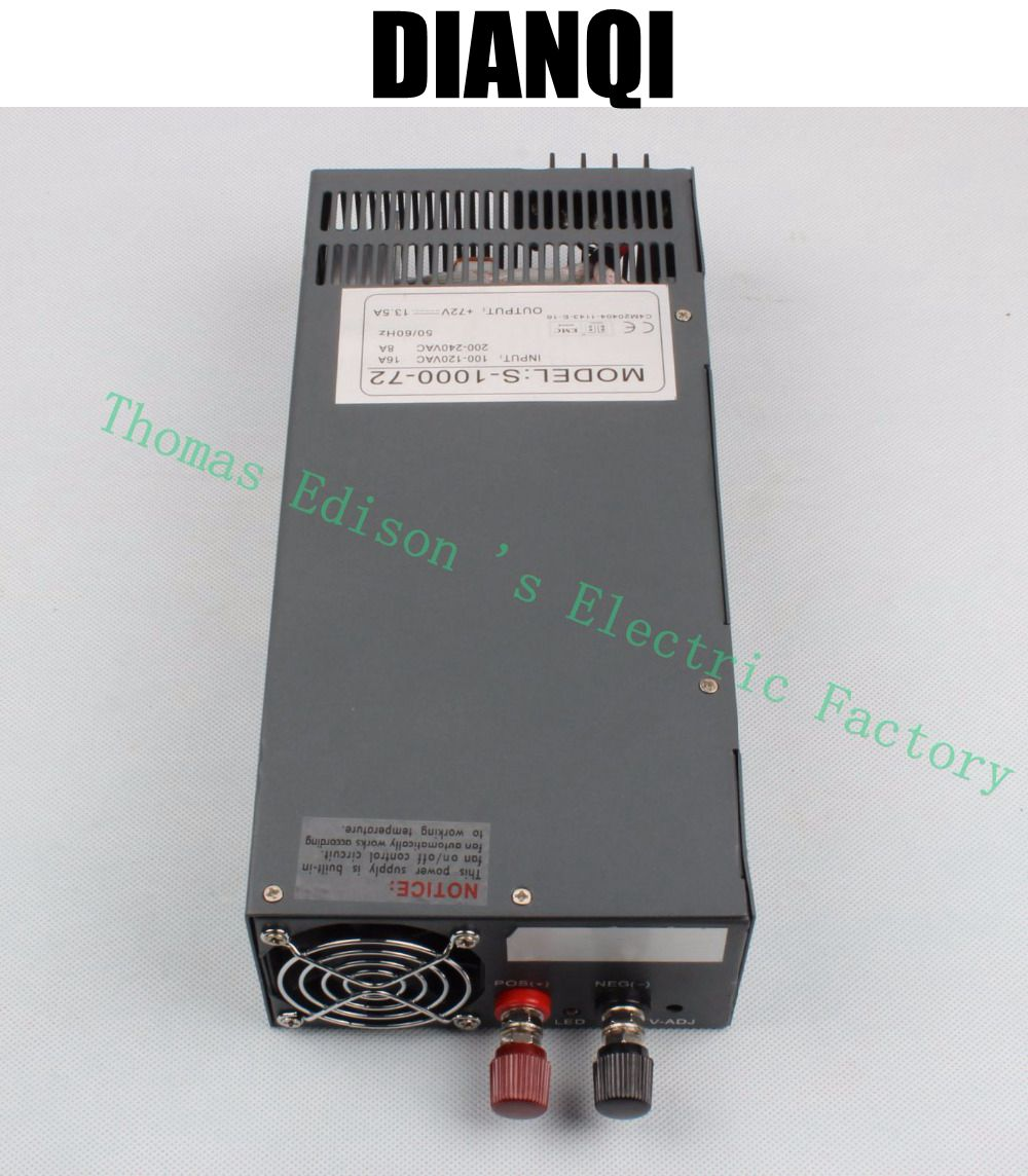 цена на 1000W 72V 13.5a Switching power supply AC to DC input 110v or 220v select by switch 1000w ac to dc power supply S-1000-72