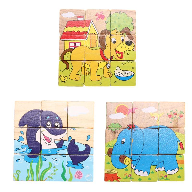Деревянный 3D головоломки доска дети ребенок многоцветный мультфильм Tangram Детские монтессори игрушка образования Игрушечные лошадки для Дл...