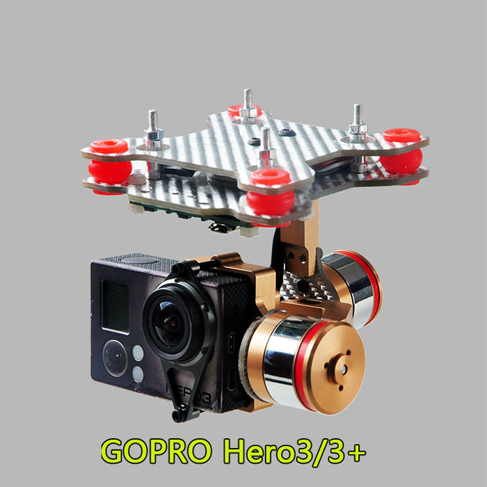 Brushless Motor Gimbal Camera Mount Full Set HMG188 Golden for Gopro 3 / 3+ /SUPTIG Camera for DJI Phantom FPV Drone Accessories fpv 3 axis cnc metal brushless gimbal with controller for dji phantom camera drone for gopro 3 4 action sport camera only 180g