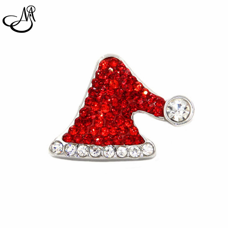 Hot Sale Snap Jewelry Button For Bracelet Necklace Fashion DIY Jewelry Crystal Santas Hat Christmas Collection Snaps SB057