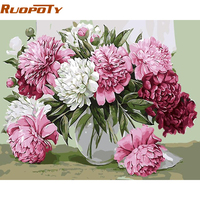 RUOPOTY Frameless Picture Pink Flowers DIY Painting By Numbers Kits Coloring By Numbers Painting Calligraphy Box