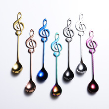 7Color Stainless Steel Tea Spoons Small Coffee Creative Music Symbol For Ice Cream Dessert Party Tableware
