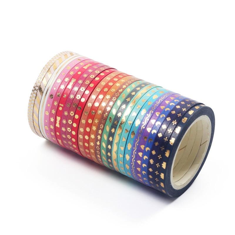 24Pcs/Set Foiling Slim Washi Masking Tape Set Foil Paper Masking Tapes Japanese Washi Tape Diy Scrapbooking Decoration Sticker