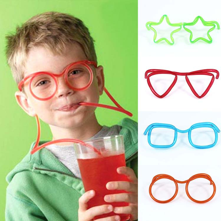 Practical Interesting Prank Fun Novelty Soft Plastic Straw Funny Glasses Flexible Drinking Toys Party Joke Tube Tools Kids Toys