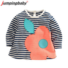 JumpingBaby Children Girls Cotton Spring Autumn T-shirt for 2016 Hot 1-6Y Kids Long Sleeve Tees Child Cartoon Kitty Tops Clothes
